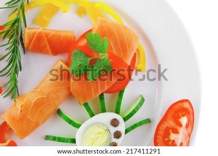 image of red smoked salmon and eggs - stock photo