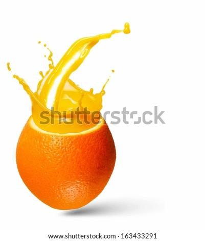 Image of refreshing orange cocktail with juicy splashes - stock photo
