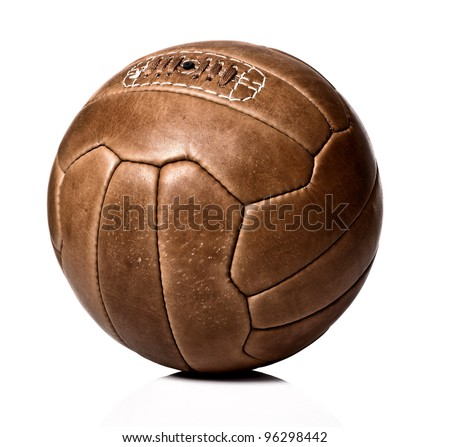 image of retro leather soccer ball - stock photo