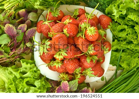 image of ripe strawberries and herbs closeup - stock photo
