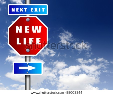 Image of road sign agaisnt blue sky - stock photo