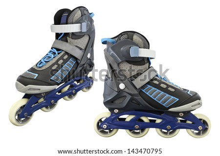 Image of roller skates under the light background - stock photo
