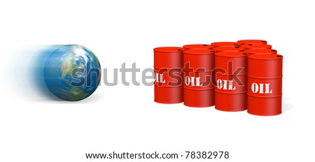 Image of rolling Earth about to hit a group of oil barrels arranged like bowling pins. - stock photo