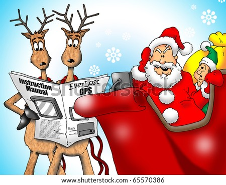Image of Santa with Reindeer and an Elf trying to figure out a GPS.