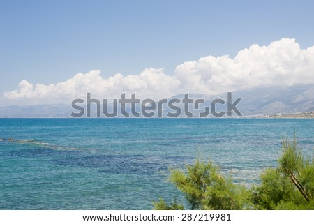 Image of Seashore of Hersonissos, touristic place in Crete, Greece. - stock photo