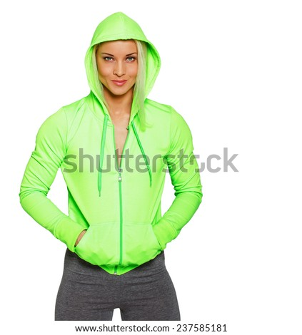 Image of self confident blondie in sportswear - stock photo