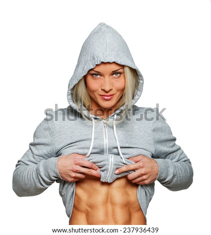 Image of self confident woman with sporty body - stock photo