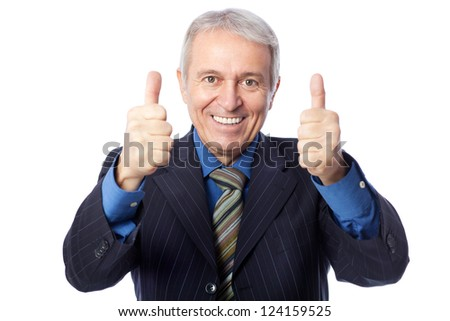 Image of senior businessman smiling and giving thumbs up, isolated on white - stock photo