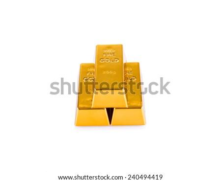 Image of Set of gold bars isolated on white background - stock photo