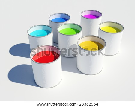 Image of seven pots of paint showing the colors of a rainbow - stock photo