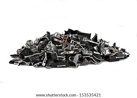 Image of several demolished hard drives on white