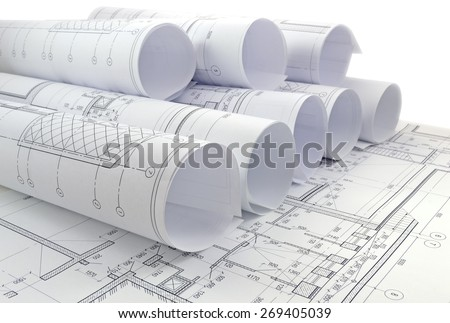 Image of several drawings for the project engineer jobs - stock photo