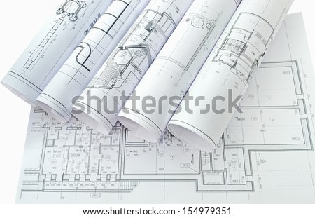 Image of several drawings of the project/Project drawings - stock photo