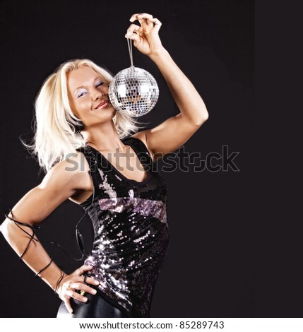 Image of sexy girl with disco ball at party - stock photo