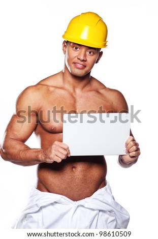 Image of sexy worker with white paper and helmet