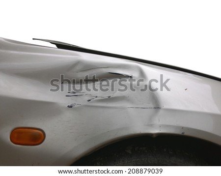 image of side view of a crashed car - stock photo