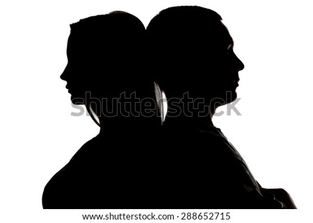 Image of silhouette teenagers looking in different sides on white background - stock photo