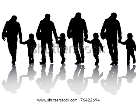 image of silhouettes of father and son - stock photo