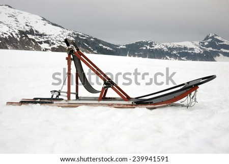 Image of sled used on an Alaska glacier for dog sledders - stock photo