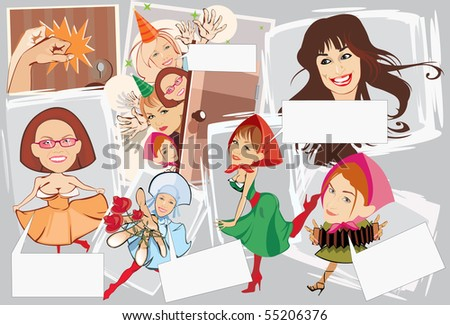image of smiling girls with blank area for text. may be use for birthday cards and posters - stock photo