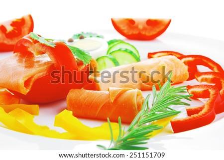 image of smoked salmon slices on white - stock photo