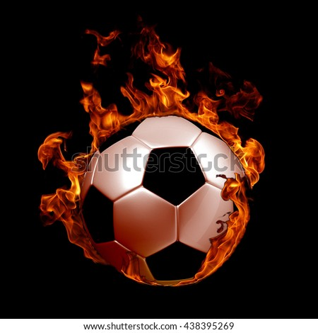 Image of soccer ball in fire flames against black background - stock photo