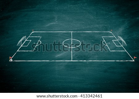 image of soccer field on the school chalkboard to drawing strategy - stock photo