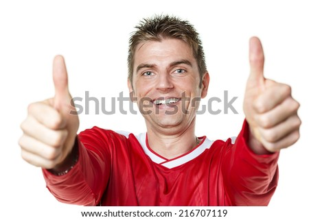 Image of soccer player with red shirt and thumbs up