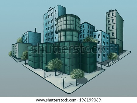 Image of social and business quarter in the future can be used to illustrate the socio-cultural development, ofissnoy life, and environmental problems of the city.  - stock photo