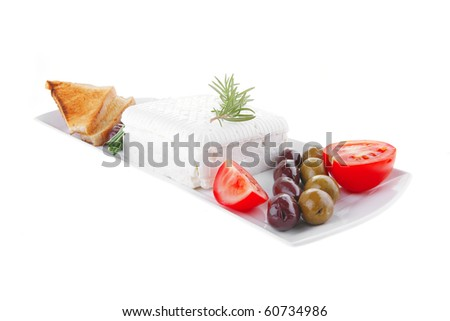 image of soft feta cube and bread toast on plate