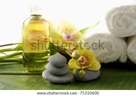Image of spa therapy, on banana leaf background - stock photo