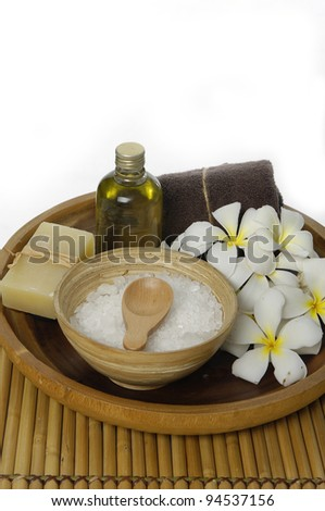 Image of spa treatment on a bamboo mat. - stock photo