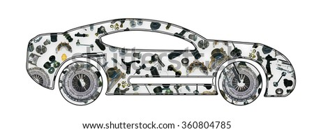 Image of sport car. Collected from spare parts. - stock photo