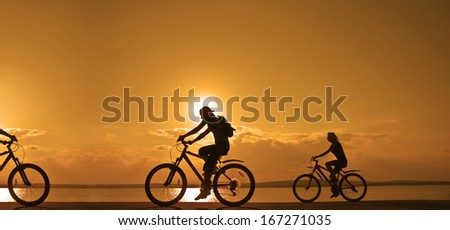 Image of sporty company friends on bicycles outdoors against sunset. Silhouette A lot phases of motion of three 3 cyclist along  shoreline coast Reflection sun on water Copy Space for inscription - stock photo