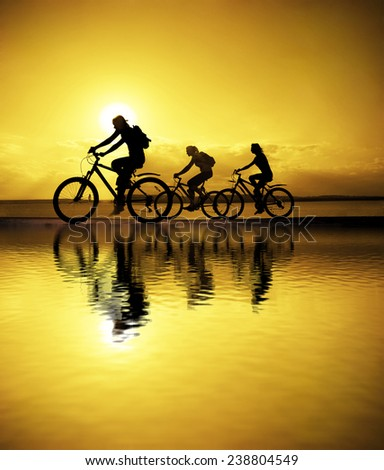 Image of sporty company friends on bicycles outdoors against sunset. Silhouette A lot phases of motion go of three 3 cyclist along shoreline coast Reflection sun on water Copy Space for inscription