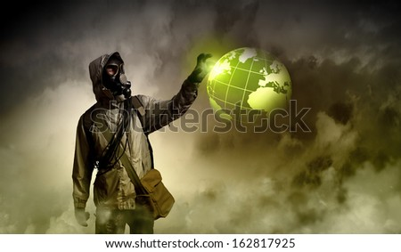 Image of stalker touching media sign. Pollution and disaster - stock photo