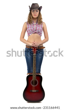Image of standing cowgirl with the guitar on white background - stock photo