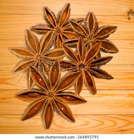 image of star anise on a wooden table