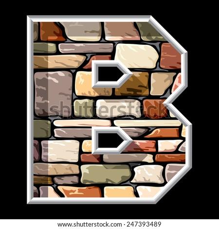 image of stone letter B - stock photo