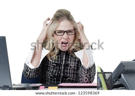 Image of stress office girl against white background - stock photo