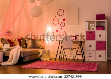 Image of stylish comfy interior for princess girl - stock photo