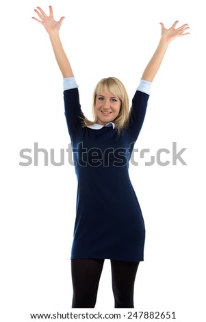 Image of successful business woman on white background