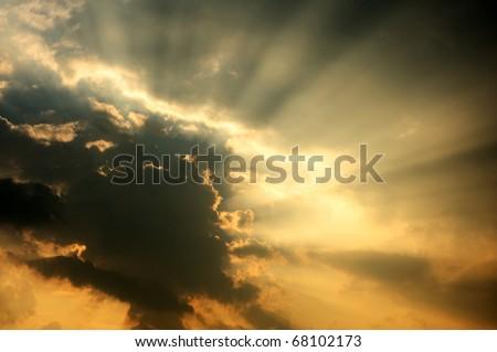 Image of sunbeam whit ray of light. - stock photo