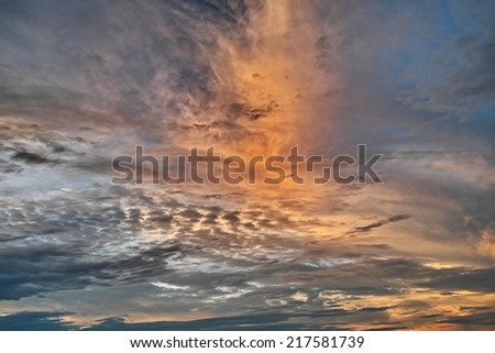Image of sunset blue sky with clouds background - stock photo