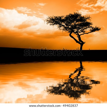 Image of sunset in the African savannah with reflection in water - stock photo