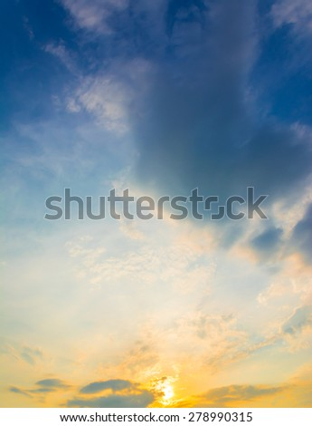 image of sunset sky for background usage.