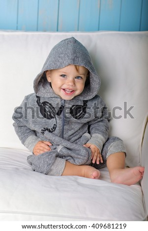 Image of  sweet baby boy, portrait of child, cute toddler with blue eyes - stock photo