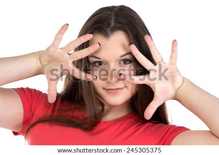 Image of teenage girl with hands near face on white background - stock photo