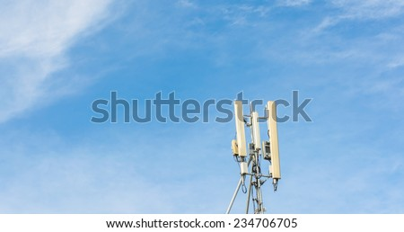 image of Tele-radio tower with blue sky. - stock photo