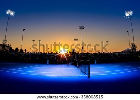 Image of tennis court at twilight. - stock photo